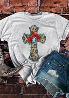 Leopard Cross Rose T-Shirt