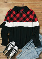 Plaid Color Block Zipper Collar Blouse