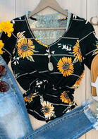 Sunflower Striped V-Neck T-Shirt Tee without Lace Camisole