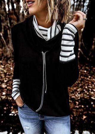 Striped Color Block Drawstring Sweatshirt - Black