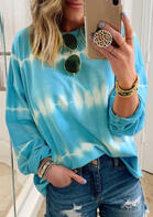 Tie Dye Gradient O-Neck Blouse