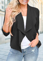 Three Quarter Sleeve Casual Blazer Coat