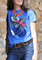 Donkey Floral O-Neck T-Shirt