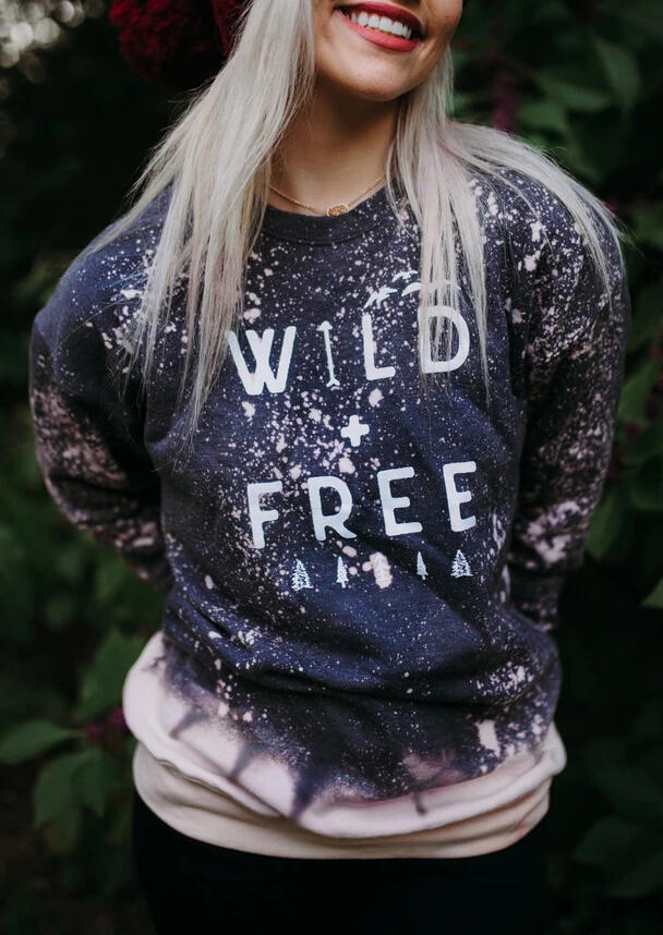 Wild Letter Bleached O-Neck Pullover Sweatshirt - Navy Blue