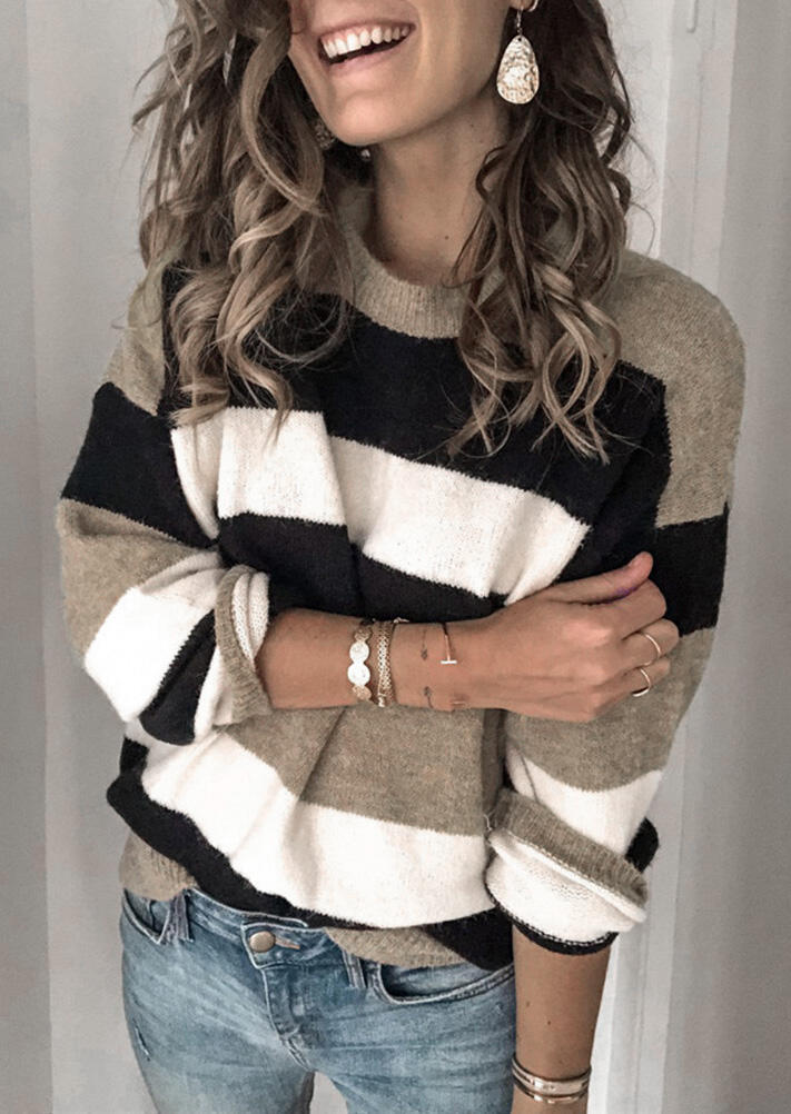 Color Block Striped Splicing Knitted Sweater