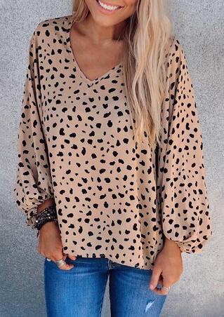 Presale - Leopard Elastic Cuff V-Neck Blouse