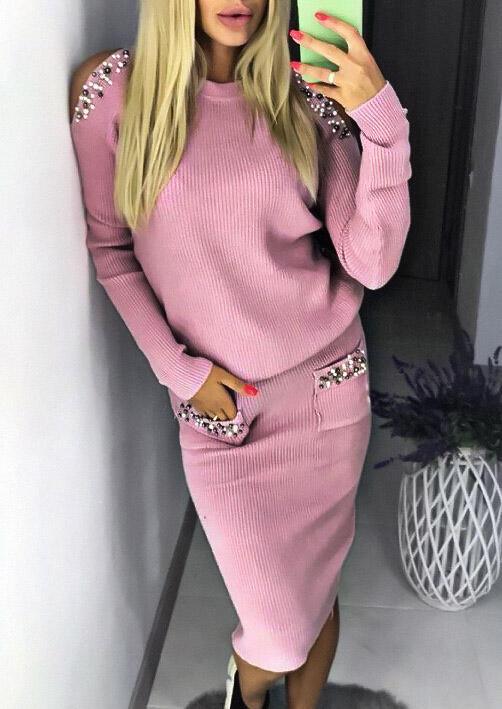 Beading Cold Shoulder Sweater And Pocket Skirt Set - Pink фото