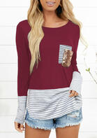 Color Block Striped Splicing Sequined Pocket Blouse