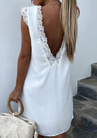 Lace Floral Trim Open Back Sleeveless Mini Dress
