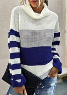 Color Block Striped Turtleneck Sweater