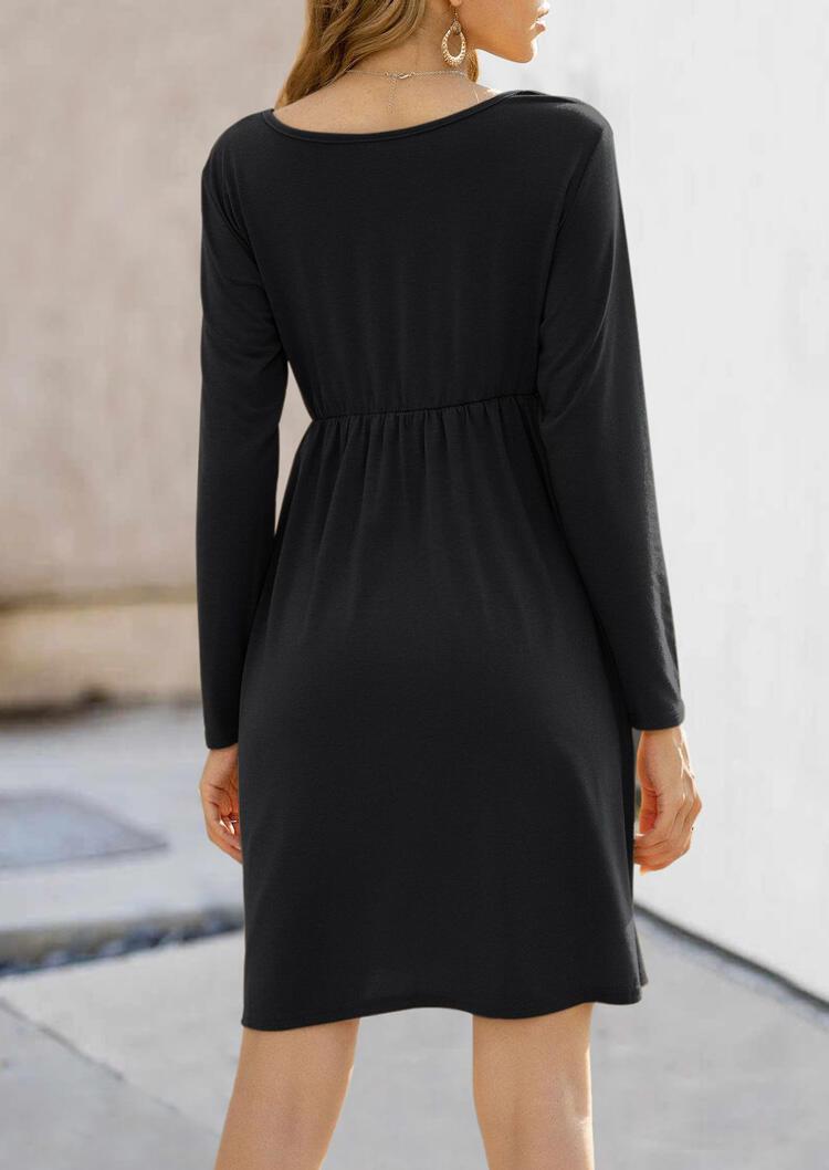 Ruffled Long Sleeve O-Neck Mini Dress - Black