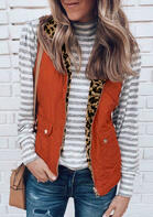 Leopard Pocket Zipper Reversible Vest Coat