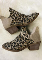 Leopard Chunky Heel Canvas Boots