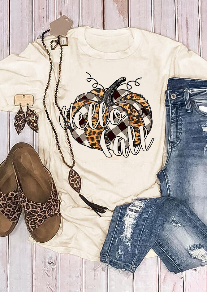 Thanksgiving Hello Fall Leopard Plaid Pumpkin T-Shirt Tee - Apricot