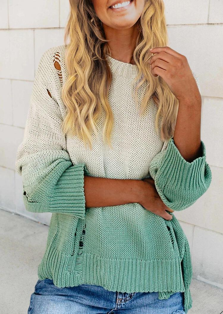 Gradient Hollow Out Slit Long Sleeve Sweater - Light Green