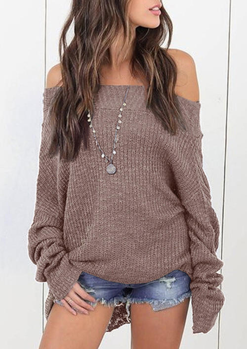 Knitted Off Shoulder Long Sleeve Sweater - Light Coffee