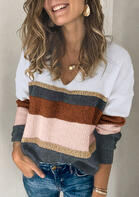 Color Block Splicing Knitted V-Neck Sweater