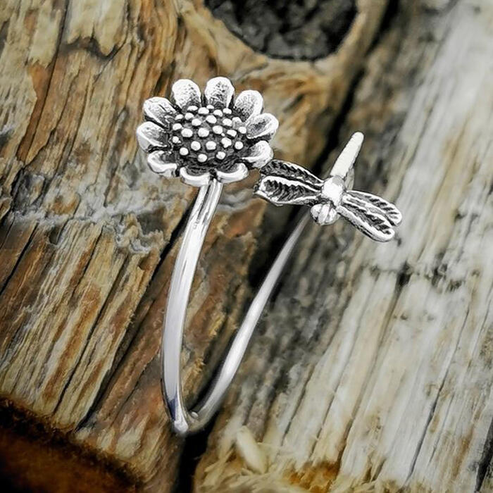 Fairyseason coupon: Sunflower Dragonfly Open Adjustable Alloy Ring