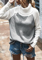 Color Block Turtleneck Knitted Sweater