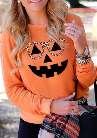 Halloween Pumpkin Leopard Glasses Sweatshirt - Orange