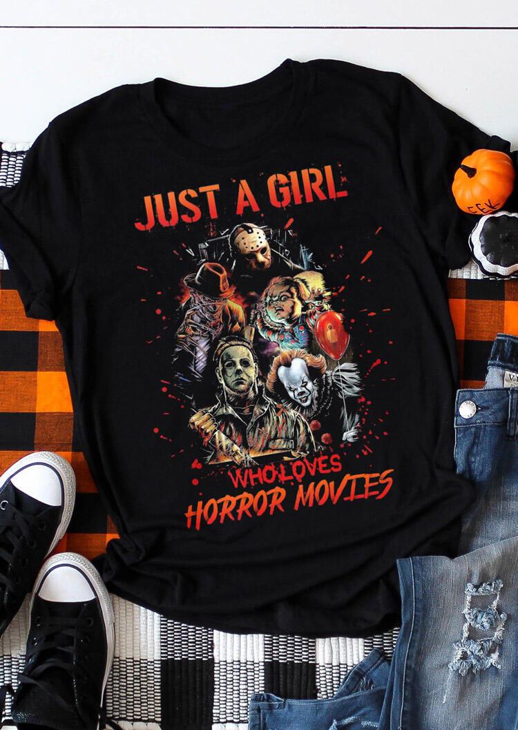 Halloween Horror Movie Graphic T-Shirt Tee - Black