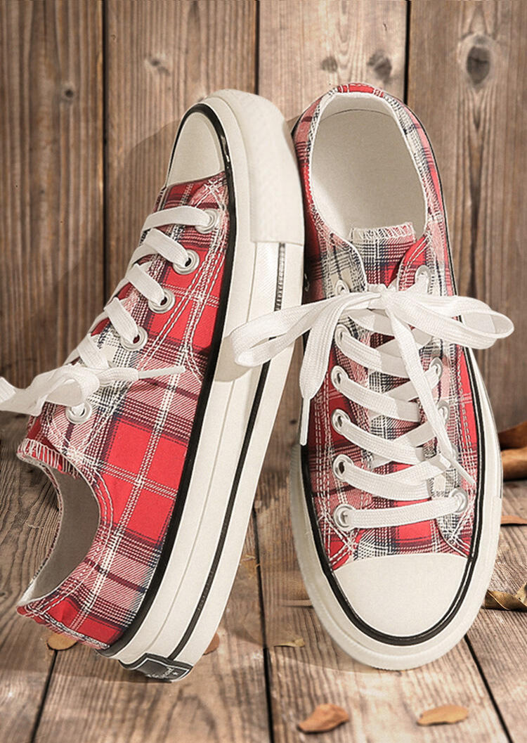 Red Plaid Lace Up Round Toe Flat Canvas Sneakers in Red. Size: 36,37,38,39,40 фото