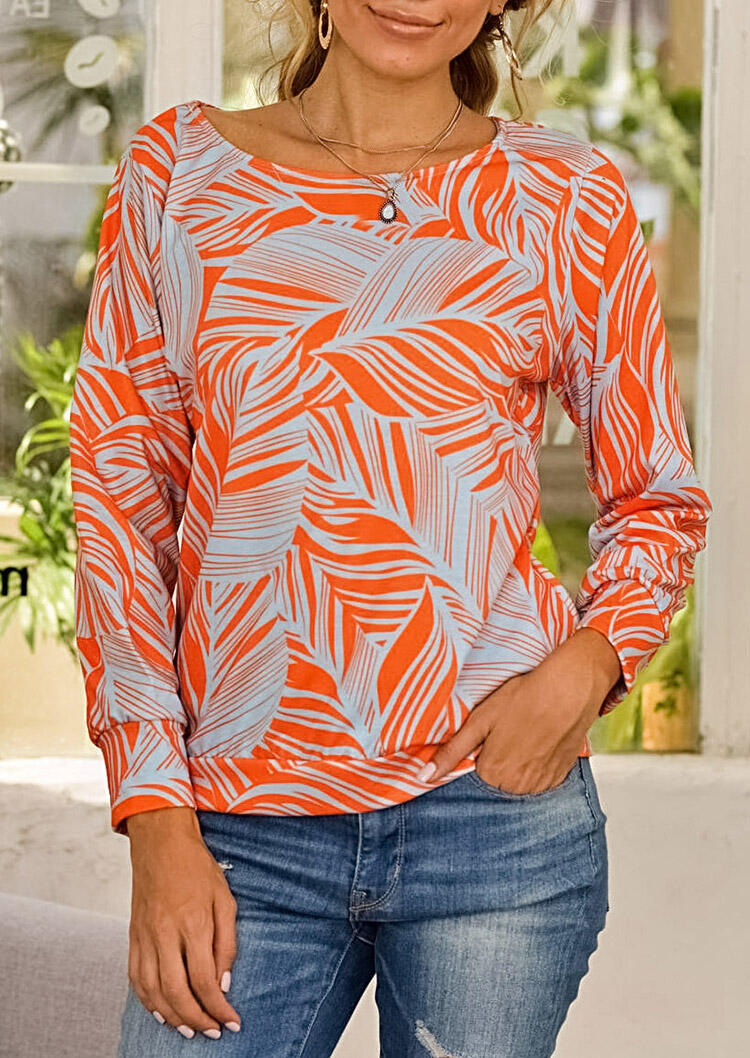 Feather Long Sleeve O-Neck Blouse - Orange