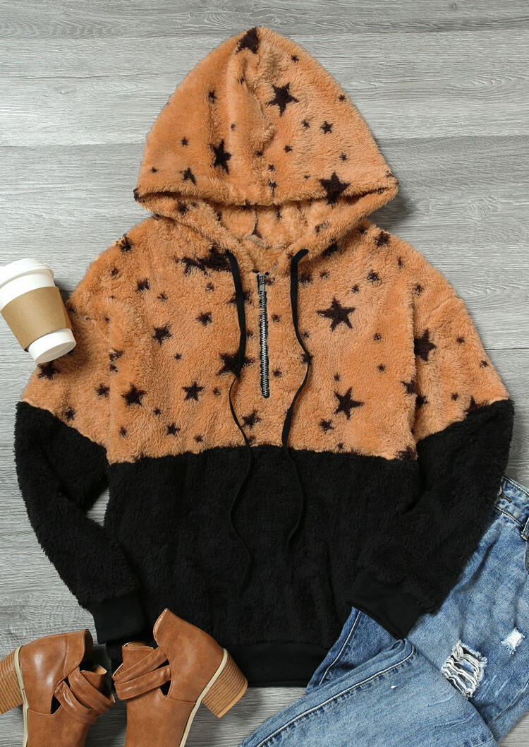 Star Pocket Zipper Drawstring Fluffy Hoodie - Black