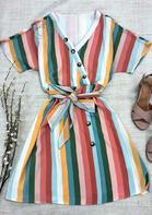 Colorful Striped Button V-Neck Mini Dress