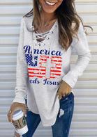 American Flag Cross Lace Up Letter Sweatshirt