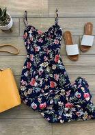 Floral Ruffled Tie Spaghetti Strap Casual Dress