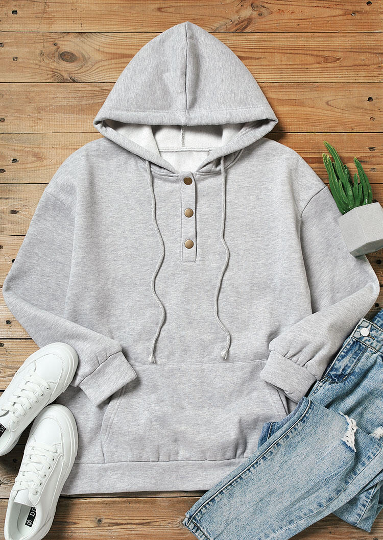 Kangaroo Pocket Button Drawstring Thickened Pullover Hoodie - Gray