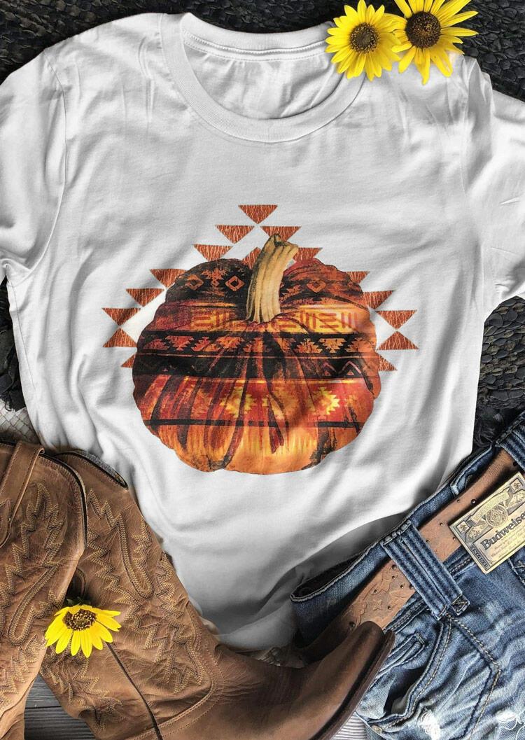 Fairyseason coupon: Halloween Pumpkin Aztec Geometric T-Shirt Tee - White