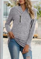 Zipper Long Sleeve Blouse - Light Grey