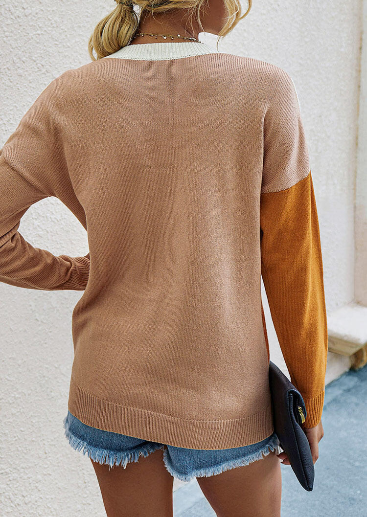 Color Block O-Neck Drop Shoulder Pullover Sweater
