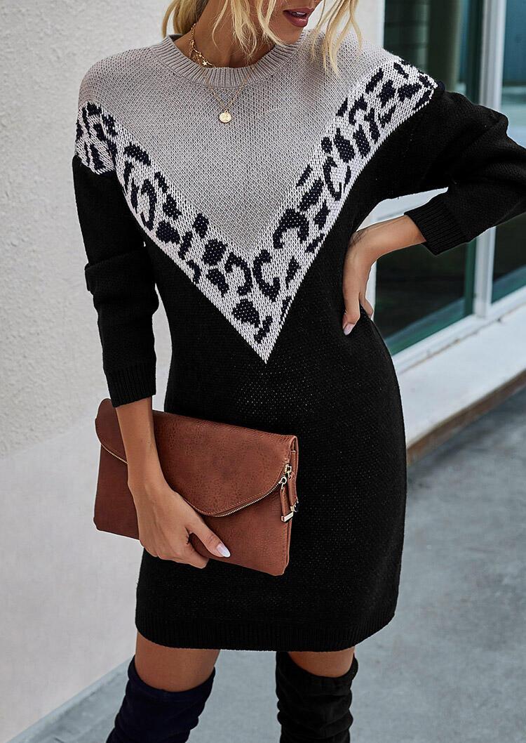 Fairyseason coupon: Leopard Splicing O-Neck Sweater Mini Dress - Black
