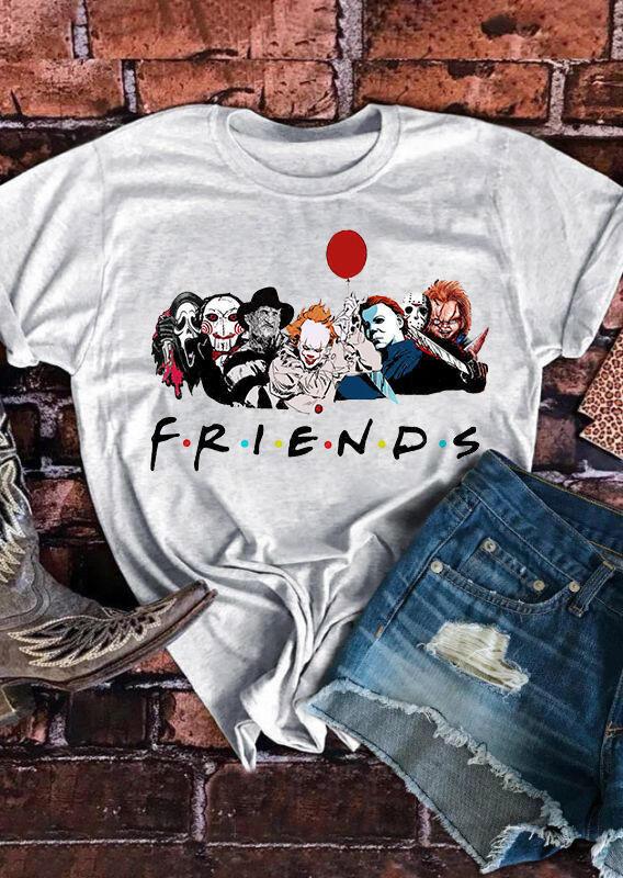 Tees T-shirts Presale -  Halloween Friends Balloon T-Shirt Tee in Gray. Size: S,M,L,XL