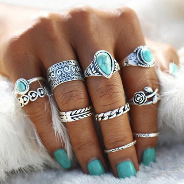 Fairyseason coupon: 10Pcs Bohemian Turquoise Rose Ring Set