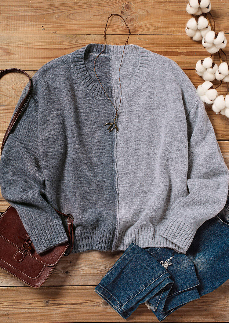 Color Block Knitted Sweater - Gray