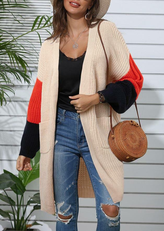 Color Block Pocket Knitted Sweater Cardigan - Flesh