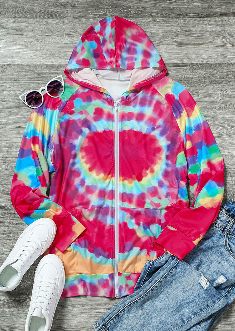 Tie Dye Pocket Zipper Hooded Coat