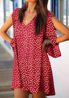 Floral Hollow Out Lantern Sleeve V-Neck Mini Dress