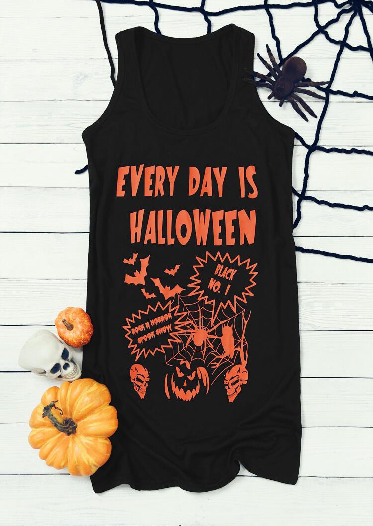 Everyday Is Halloween Pumpkin Skull Mini Dress - Black