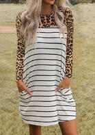 Striped Leopard Splicing Pocket Mini Dress