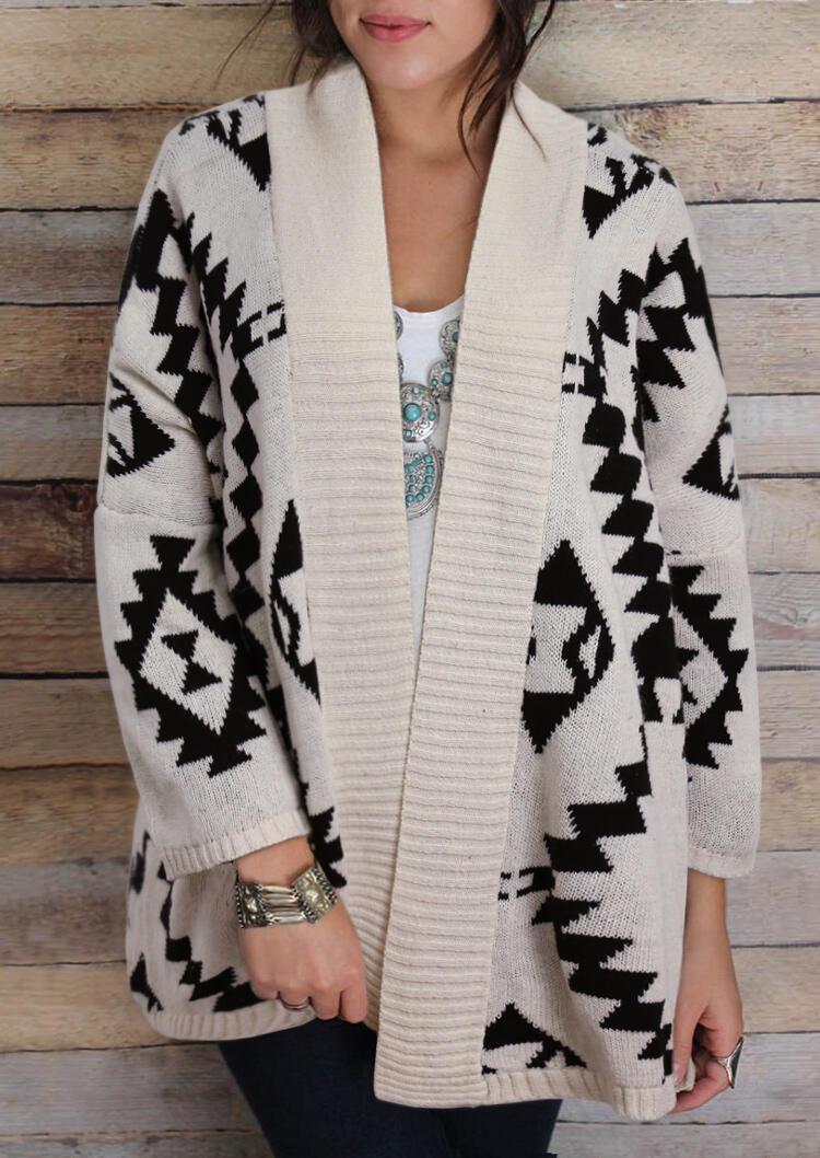 Aztec Geometric Rhombus Knitted Cardigan - Beige