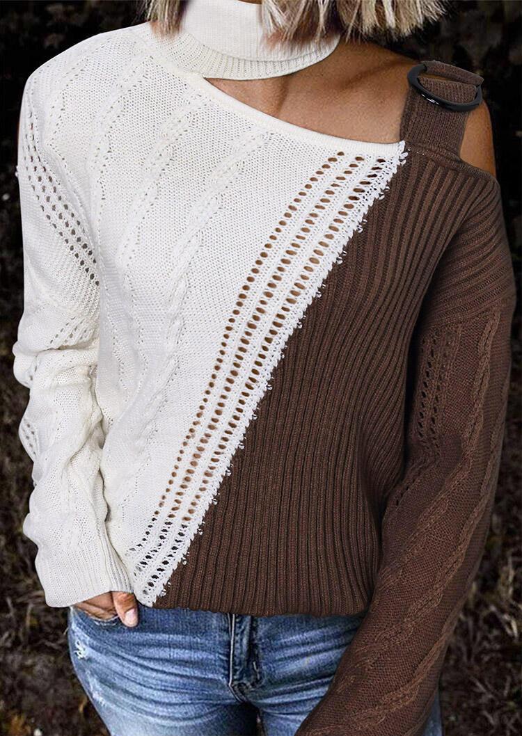 Color Block Turtleneck Cold Shoulder Sweater - Dark Coffee
