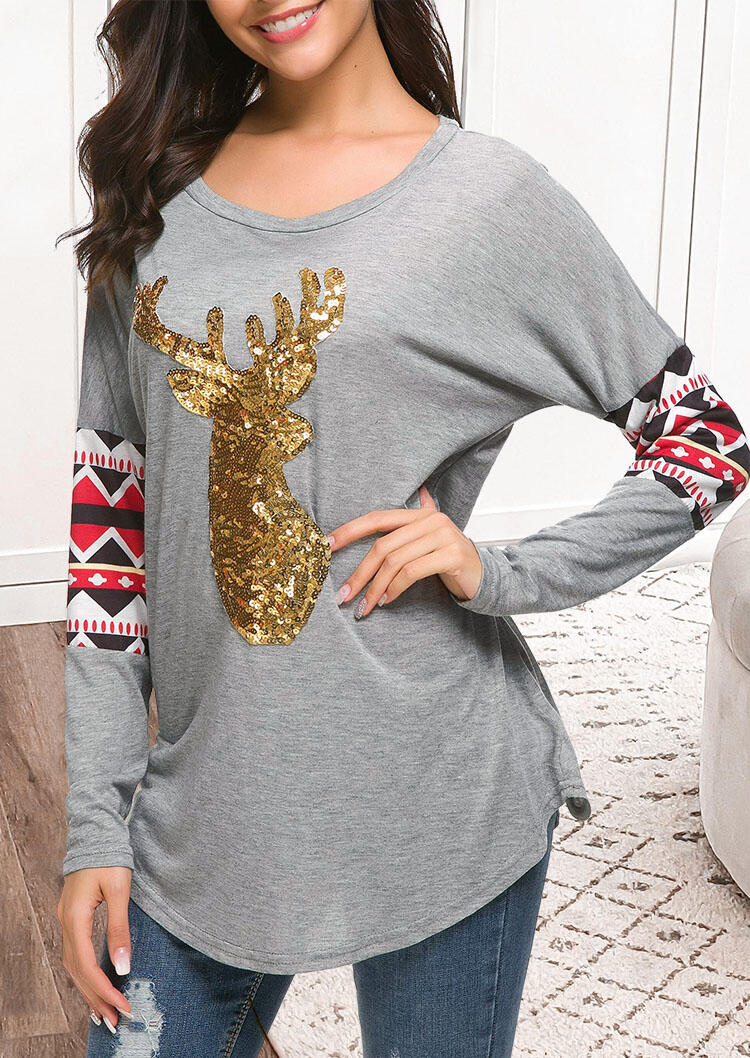 Fairyseason coupon: Sequined Reindeer Geometric Splicing Long Sleeve Blouse - Gray