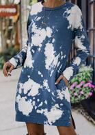 Tie Dye Slit Pocket Long Sleeve Mini Dress