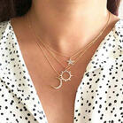 3Pcs Star Moon Sun Rhinestone Necklace Set