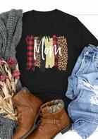 Leopard Plaid Mom O-Neck T-Shirt